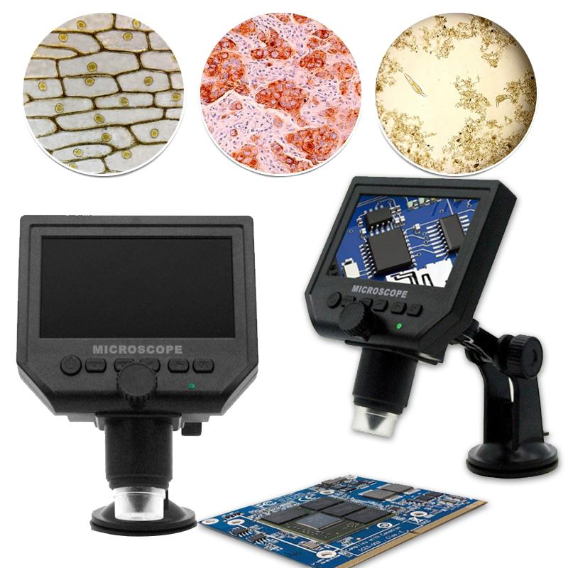 High Definition Display Screen Microscope with Bracket Digital Electronic  Convenience 4.3 Inches 1080P/720P/VGA free shipping 600x 4 3 lcd display microscope zoom portable led video microscope with aluminum stand for pcb phone repair bga