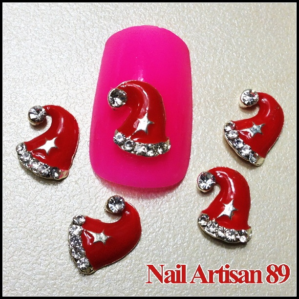 Alloy 3D Red Long Hat for Christmas Decoration Wholesale Nail Supply 20psc/lot B337