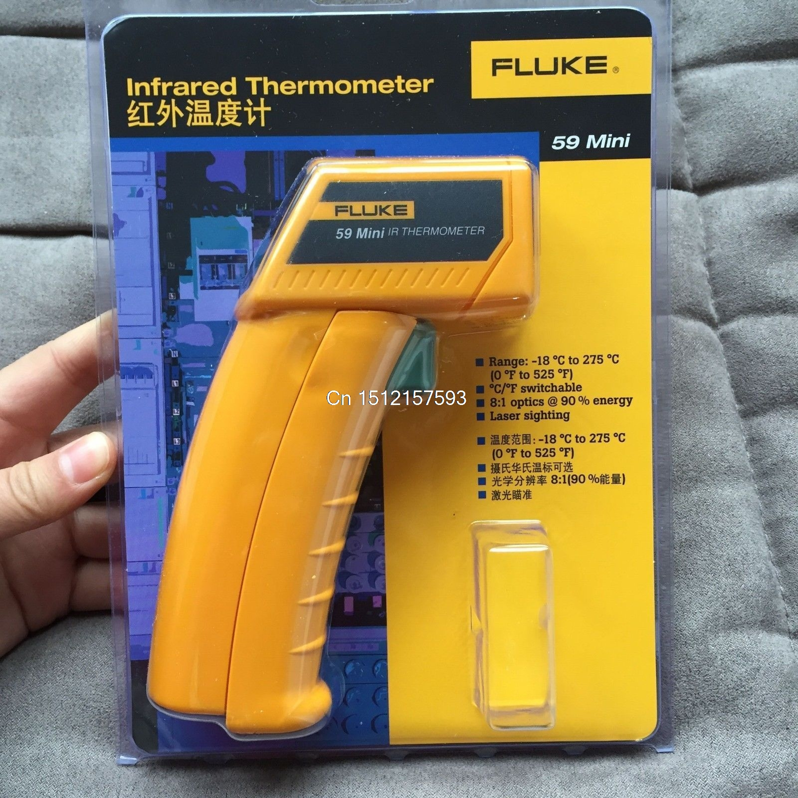 Fluke59 testeur de température de pistolet à thermomètre infrarouge infrarouge Laser portatif