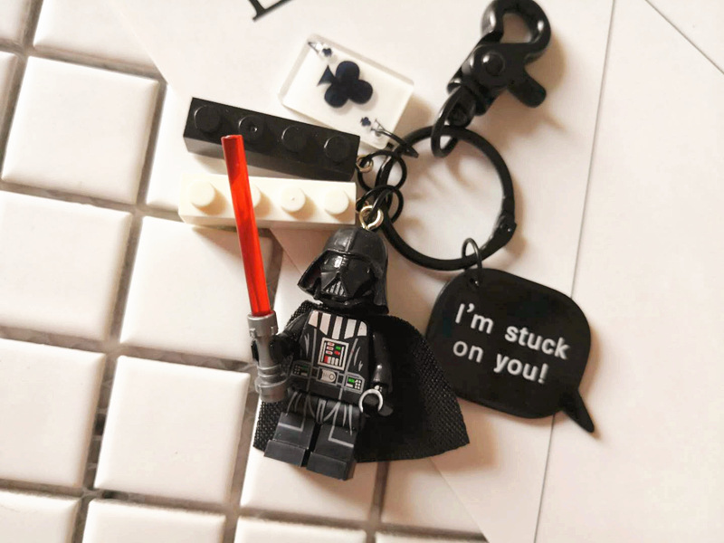 Cute Star Wars Jedi Knight Figures Doll Keychain Building Block Key Ring Pendant For Women Bag Backpack Charms Accessories