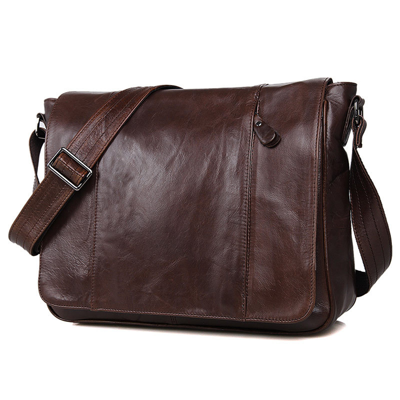 Nesitu High Quality Coffee First Layer Genuine Leather Cross Body Men Messenger Bags Real Skin Shoulder Bags #M7338 2014 new men s bags brand 100% genuine leather men messenger bags high quality first layer of cowhide leather mens shoulder bags