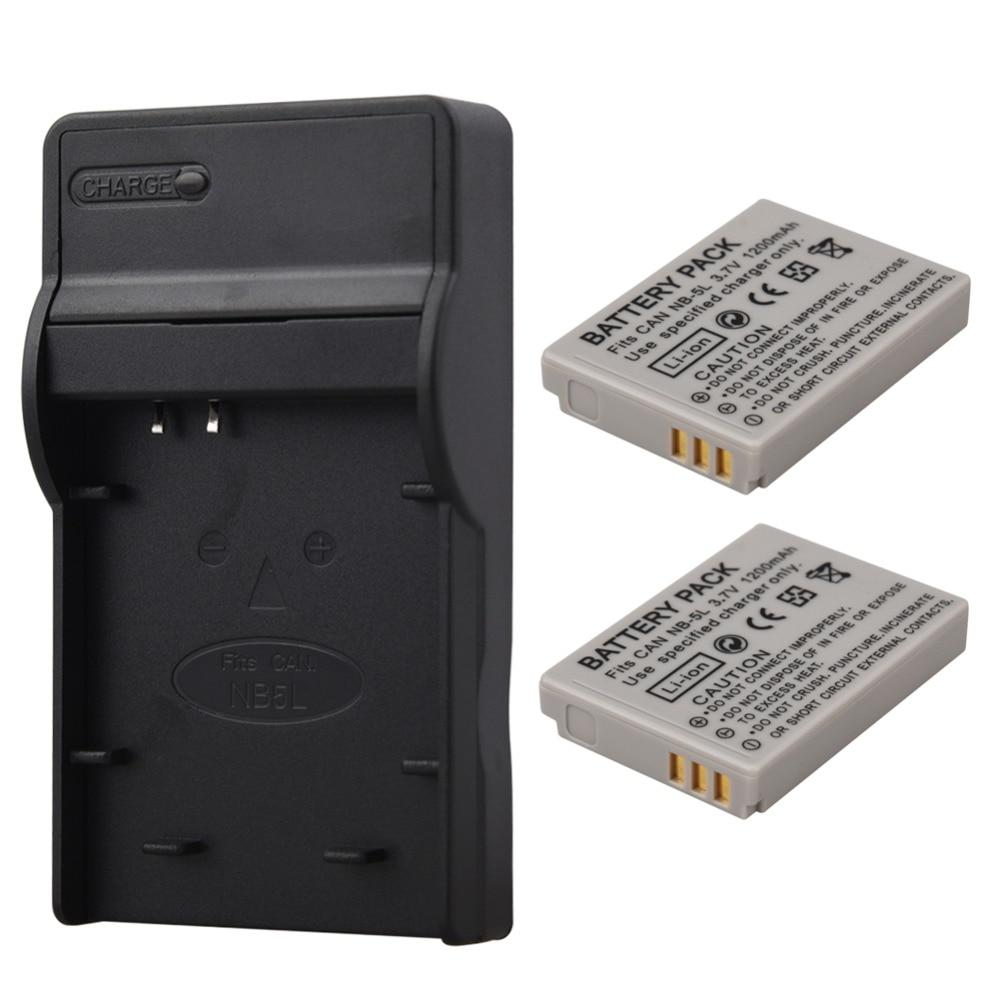2 unids NB-5L NB 5L NB5L batería + cargador para Canon SX200is SX210IS SX220HS SX230HS CB-2LXE PowerShot S100 S110 SD950 SD970 SD990