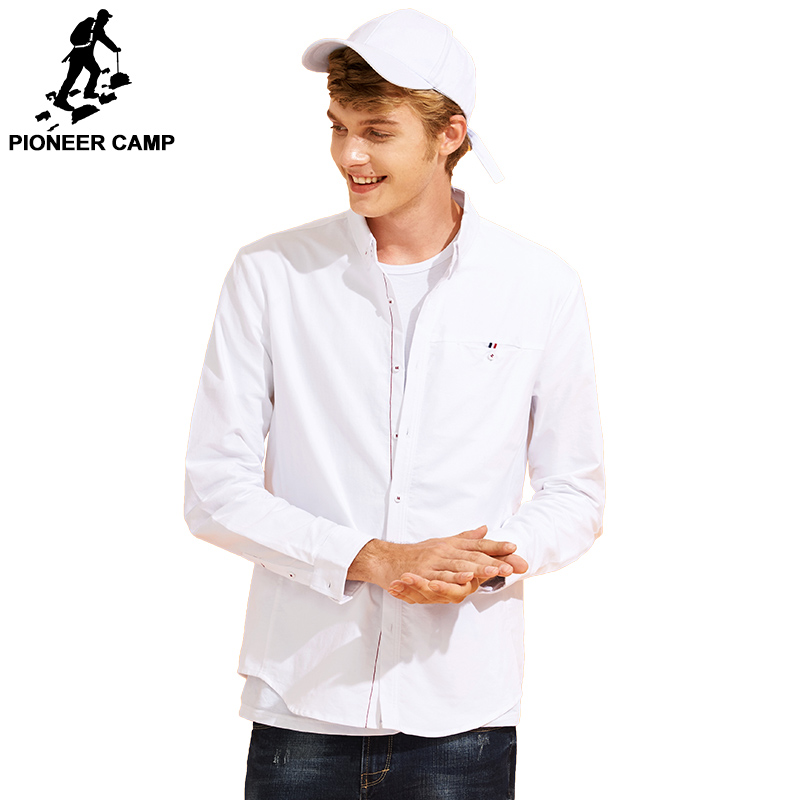 Pioneer Camp new arrival solid casual shirt men brand-clothing long sleeve shirt male quality cotton white grey ACC701226 ...