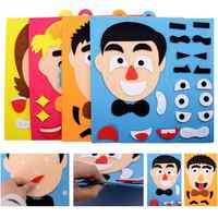 DIY Emotion Change Puzzle Toys Facial Expression Humor Non-woven Children's Handmade Facial Expressions Stickers