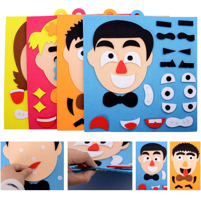 DIY Emotion Change Puzzle Toys  Facial Expression Funny Humor Non-woven Children's Handmade Facial Expressions Stickers