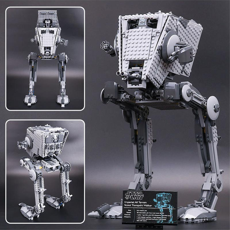 New Lepin Star Wars Series 1068pcs Out Of Print Empire AT-ST Robot Building Blocks Bricks Set Toys 05052 gonlei in stock 05052 1068pcs new star war series the empire at st robot building blocks bricks set toys 10174