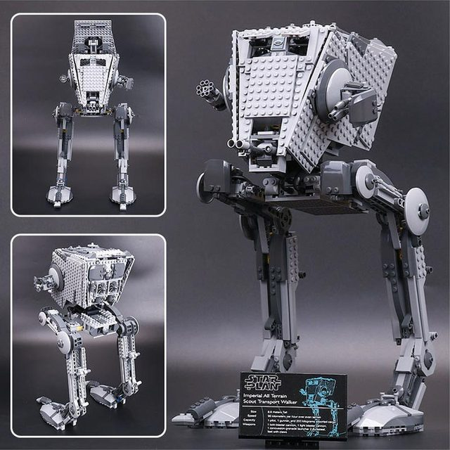 New 1068pcs Lepin Star Wars Series Out Of Print Empire AT-ST Robot Building Blocks Bricks Set Toys