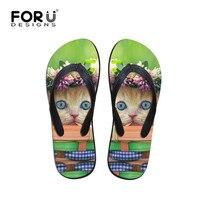 FORUDESIGNS Summer Flip Flops Women Casual House Slippers Cute Animal Cat Printed Women S Non Slip