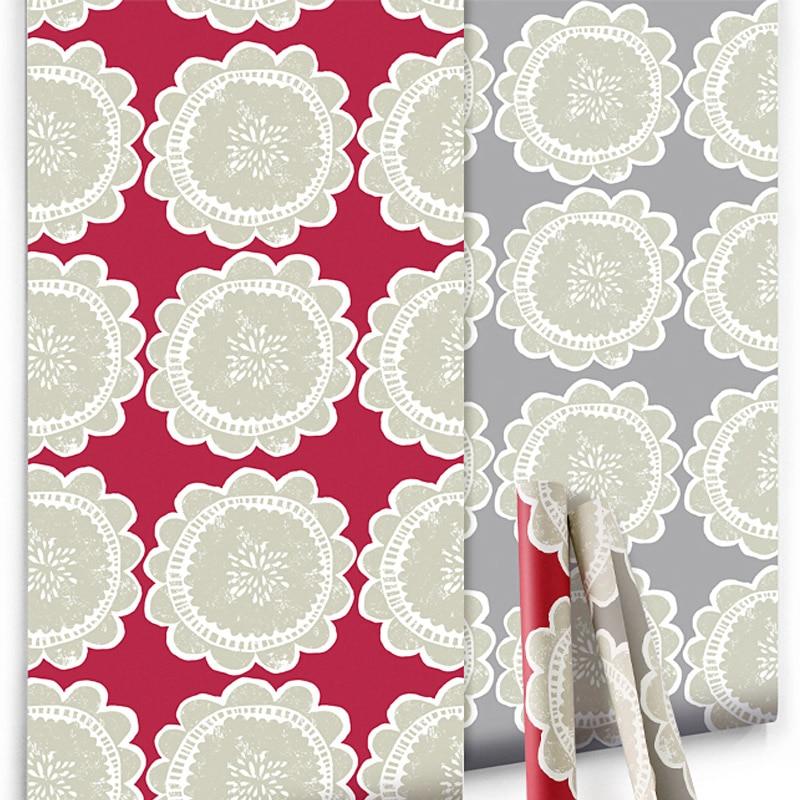 Us 29 4 30 Off Designer Large Flower Floral Wallpaper Roll Modern Red Grey Floral Background Wall Paper Hallway Room Wallcovering Kids Room In