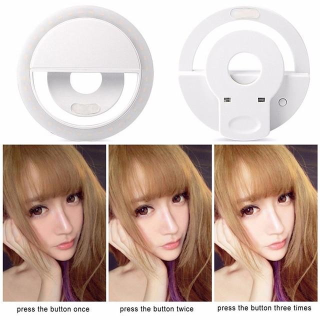 Lumière danneau de Selfie dappareil-photo de charge dusb avec lobscurité de câble dusb Selfie améliorant pour liphone pour la lumière de remplissage de téléphone android