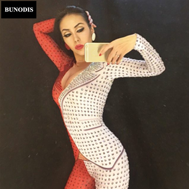 BU053 Red And White Women Bodysuit Full Of Sparkling Crystals Stones Jumpsuit Party Celebrate Nightclub Performance Stage Wear