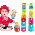 Nova Chegada Do Bebê da Criança New Hot 9 Stacking Stacks Ninho Torre Contar o Número de copos de Aprendizagem Carta Play Toy for Kids Transporte Livre-50