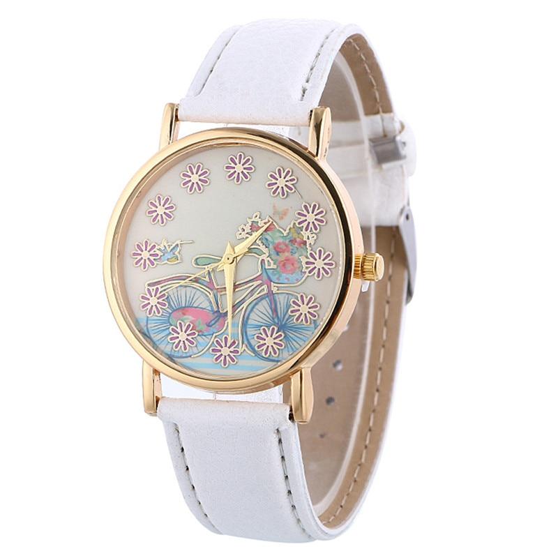 Hot Sale Women Watch Fashion Womens Bike Pattern Leather Quartz Wrist Watch Casual Dress Watches Clock Relogio Feminino
