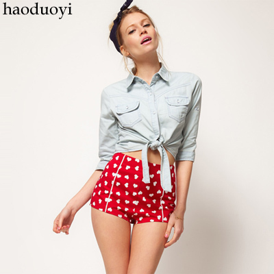 Womens cotton low waist short with lovely heart printed for freeshipping and wholesale