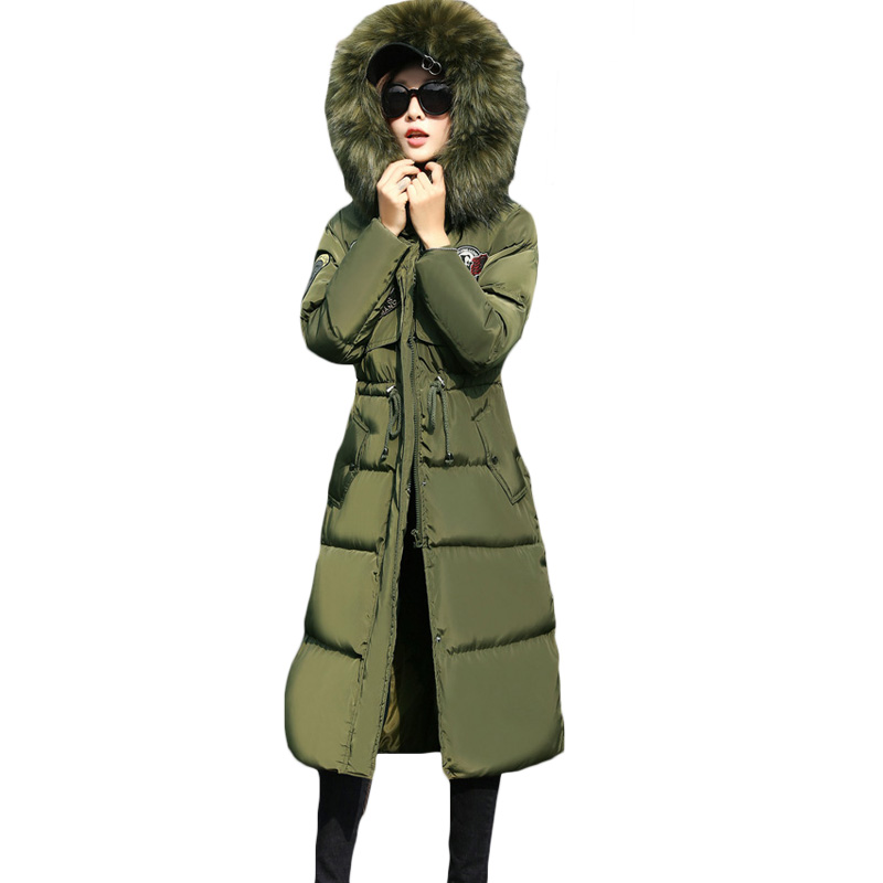 Fashion Winter Women Coat Padded Jacket Ladies Long Quilted Jacket Slim Army Green Outerwear Womens Drawstring Waist Tops XH875