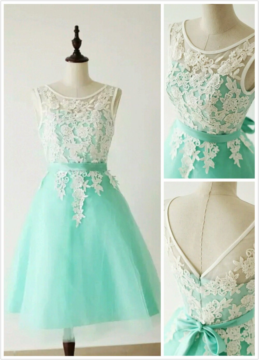 aqua mint lace applique high quality short bridesmaid