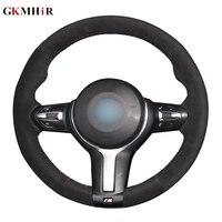 DIY Black Suede Leather Car Steering Wheel Cover for BMW F87 M2 F80 M3 F82 M4 M5 F12 F13 M6 X5 M F86 X6 M F33 F30 M Sport