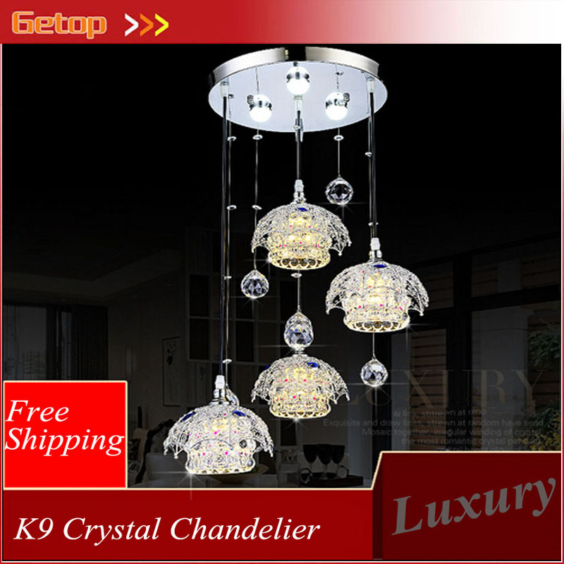 ZX Modern Lustre LED Crystal Pendant Lamp 1/3/4 Heads LED Chip Lights Artistic Restaurant Ceiling Lamp Fixtutres Free Shipping