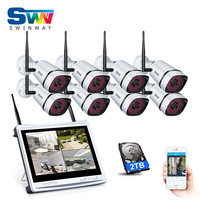 2TB HDD Plug And Play 8CH Wireless NVR Security Kit 10 LCD Screen 720P HD Outdoor