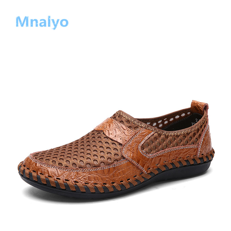 Mnalyo Summer Breathable Mesh Shoes Mens Casual Shoes Genuine Leather Slip On Brand Fashion Summer Shoes Man Soft Comfortable()