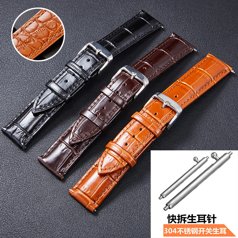 High quality leather light double sided cowhide strap needle buckle quick switch raw ear wristband in Watchbands from Watches