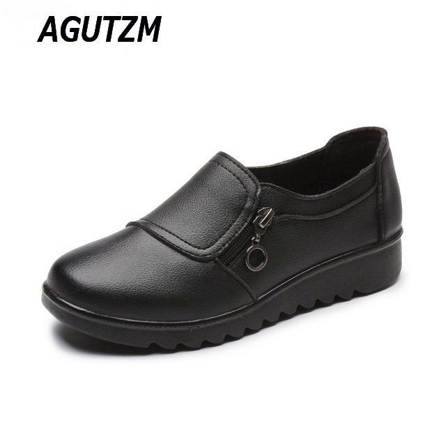 New Autumn Women's Shoes Fashion Casual Women Leather Shoes Ladies Slip On Comfortable Plus Size Work shoes free shipping new hot sale women shoes breathable buckle slip on for women comfortable dress shoes genuine leather white colour free shipping