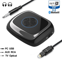 Bluetooth 5.0 Aptx low latency Music SPDIF Toslink RCA Aux Transmitter Receiver A2DP Wireless home stereo audio TV Adapter