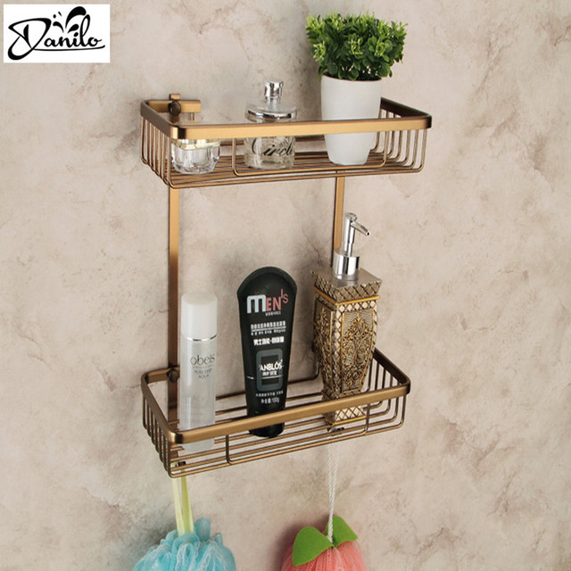 Easy Installation Double Layer Wall Mounted Antique Space Aluminum Shower  Basket Bar Shelf /bathroom Accessories