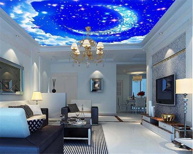 Beibehang Beautiful Personality Wallpaper Fantasy Sky Moon White Clouds Living Room Ceiling For Walls