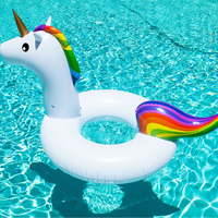 90cm Inflatable Unicorn Ring Swimming Circle Pool Float Tube Raft Water Mattress Bed Party Toys Boia Piscina For Kids Children