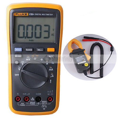 Fluke 17B + PLUS Multímetro Digital (Backlit) + Temp Probe TRANSDUTOR AC Testador DE transporte
