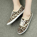 Leopard zapatos mujer plus size canvas shoes casual ladies shoes women shoes lace-up lovers flat shoes woman flats 40 41 42