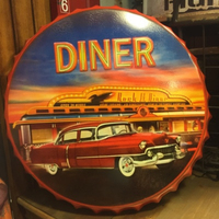 DINER Large Beer Cover Tin Sign Logo Plaque Vintage Metal Painting Wall Sticker Iron Sign Board Decorative Plates 50X50 CM