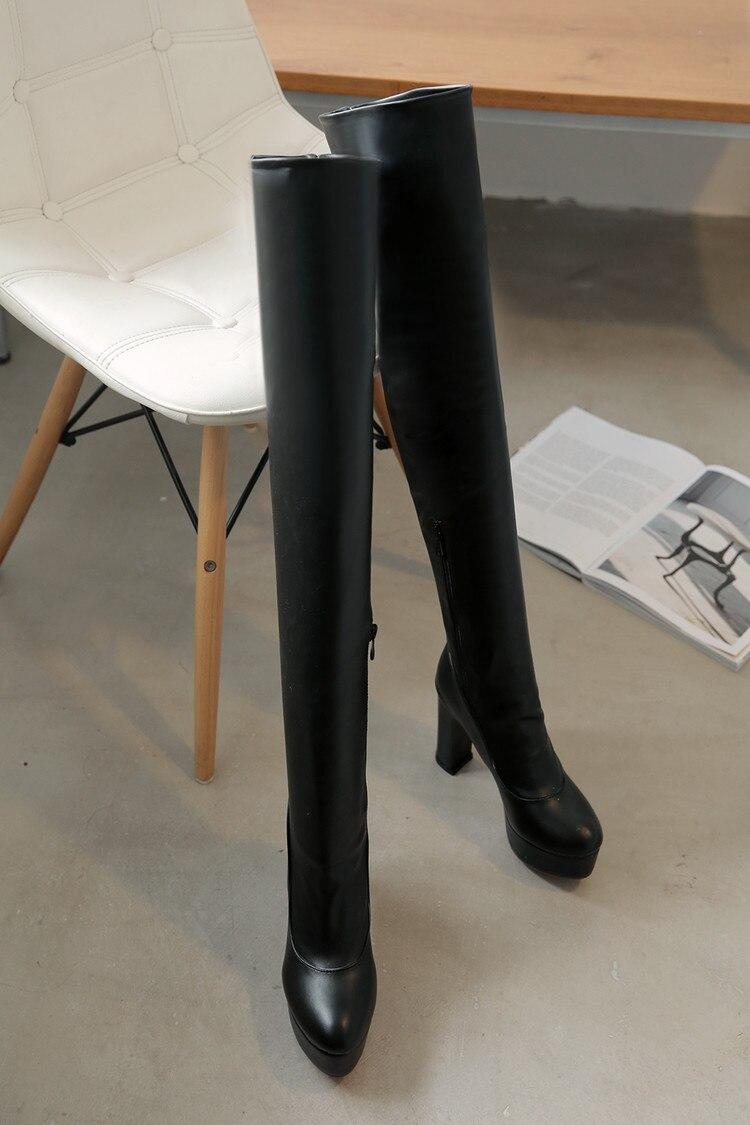 Bout 8093 Loisirs D'hiver Talons Genou En Noir Bottes Cuir Nouvelle Hauts Le Mode blanc Pointu Femmes Élégant Sexy Longues Chaussures Sur WPYSqwWdU