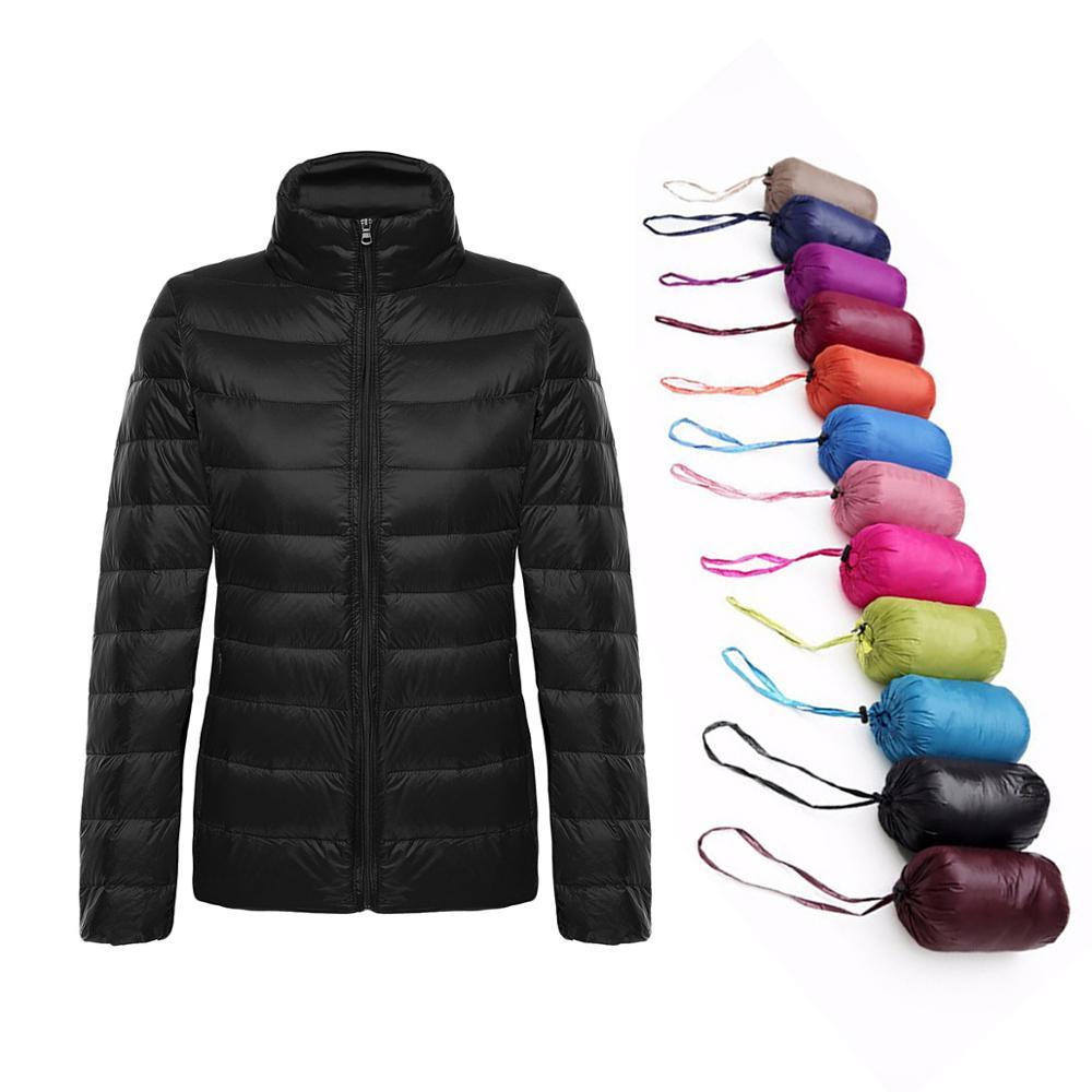 2019 Womens Autumn   Jackets   Winter Women Coat Ultra Light Duck Down Long Sleeve Warm Slim 3XL Plus Size   Basic     Jacket   Lady Pink
