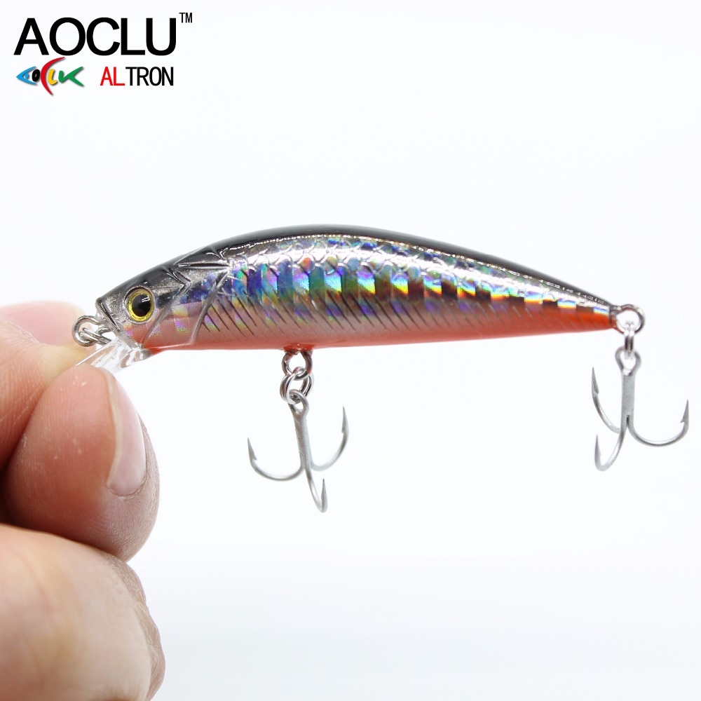 AOCLU wobblers Super Quality 7 Colors 50mm Hard Bait Minnow Crank Popper Stik Fishing lures Bass Fresh Salt water 12# VMC hooks wldslure 1pc 54g minnow sea fishing crankbait bass hard bait tuna lures wobbler trolling lure treble hook