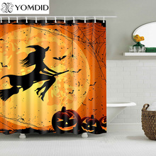 Halloween Shower Curtain Printed Orange Black Magic Curtains Bathroom Colorful Multi Size Polyester Fiber