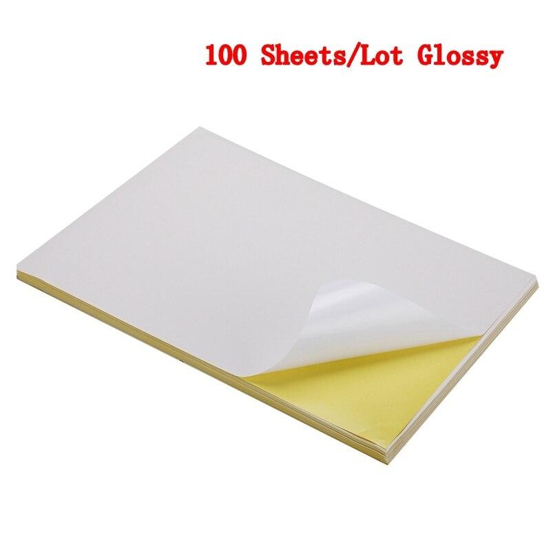 50/100 листа/уп наклейки для ногтей с много A4 глянцевой и матовой крафт клейкая Стикеры для лазерный струйный принтер копир ремесло Бумага самоклеющиеся Стикеры этикетка - Color: 100 sheets Glossy