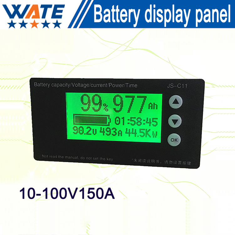 Free shipping 10-100V150A Lifepo4 battery capacity meter coulombmeter battery display panel big discount brand new sm8124 internal battery resistance impedance meter tester battery resistance voltmeter free shipping