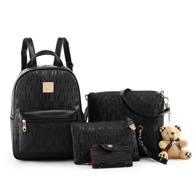2018 New Fashion 4/Set Backpack Women PU Leather Backpacks for Teenagers School Bags Girls sac a dos femme Purse Spanish Bear british style printing vintage backpack female cartoon school bag for teenagers high quality pu leather backpack sac a dos femme