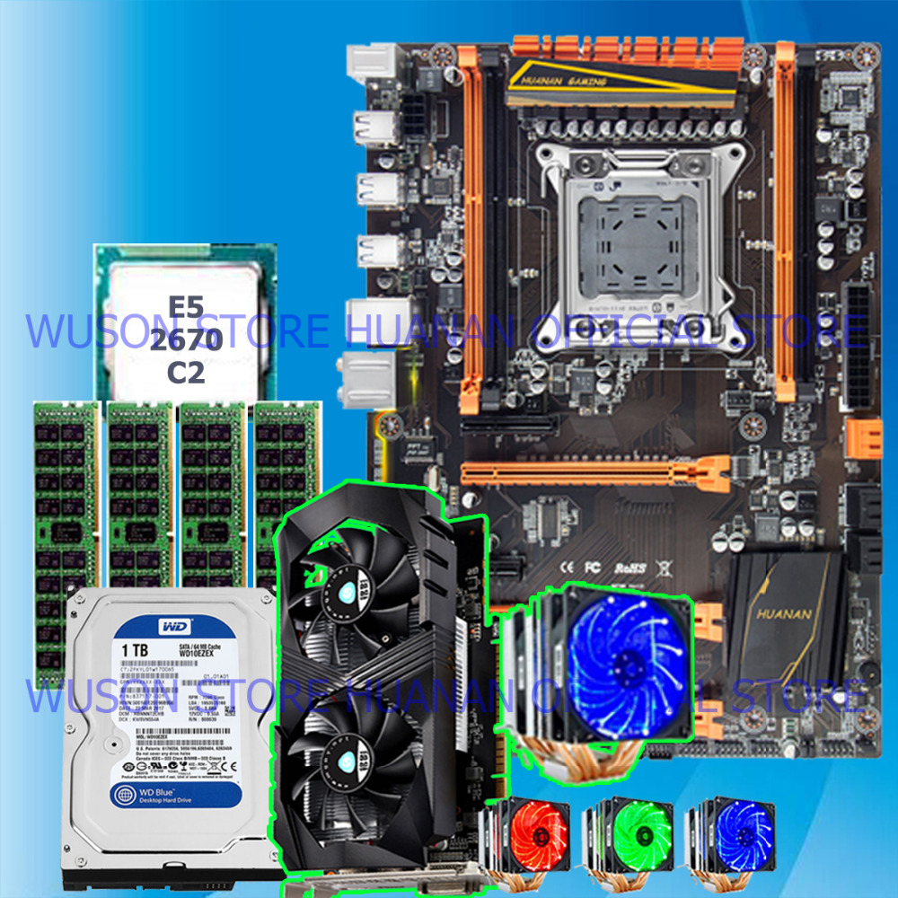 Computer DIY HUANAN deluxe X79 motherboard CPU RAM combos with 1TB SATA HDD GTX1050Ti 4G video card <font><b>E5</b></font> <font><b>2670</b></font> <font><b>C2</b></font> RAM 32G DDR3 RECC image