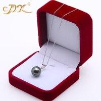 JYX 18 К золото 12,5 мм черный Tahitian кулон Цепочки и ожерелья с бриллиантами 18 выбран южного моря культивированный жемчуг AAA ювелирные изделия зо