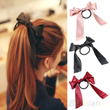 Hot Sweet Women Multicolor Satin Ribbon Bow Hair Band Rope Scrunchie Ponytail Holder  77HX