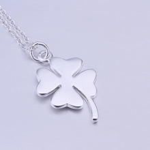 2017 Romantic Necklace 1pc Silver Plated Four Leaf Clover Lucky Pendant Long Necklace Link Chain Elegant Women Girls Ladies Gift