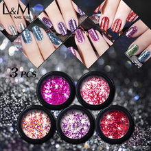 3pcs New Arrival Lvmay Platinum uv soak off gel polish Glitter Color Nail art Paint Shinny Gel polish Nail Set 3 pcs set kit lvmay brand painting gel polish nail art color 3d drawing paint curing lamp soak off professional nails top it off