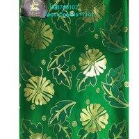 Nice Hot Golden Flower Design African Sego Gele 2 Pieces Set Shinning Strong Nigerian Head Tie