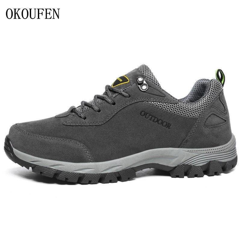OKOUFEN Men Hiking Shoes New Male Sports Outdoor Trekking Hunting Tourism Mountain Climbing Shoes Sneakers Big