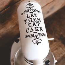Kitchen Idea Gift   Let Them Eat Cake   Vinyl Damask Mixer Decal ,  KitchenAid Mixer Sticker ,free Shipping F2069