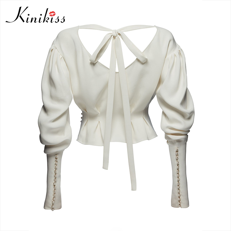 Contrast Beads Blouse shirt Top White V neck Long lantern sleeve Cansual lace up Rivet backless white Blouse