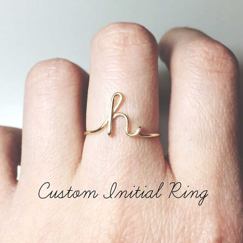 Custom Alphabet Letter Rings A-Z Initial Letter Name Rings Charm Letter Rings Couple Jewelry Fashion Love Gift